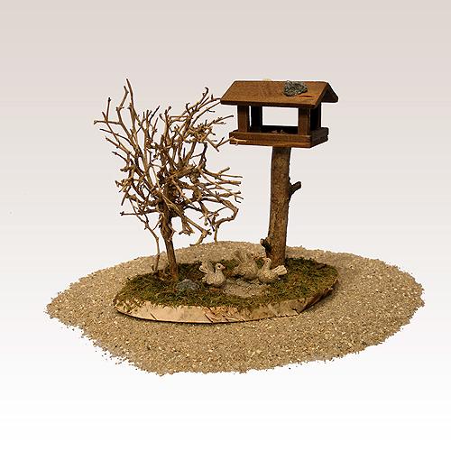 krippenzubeh r vogelhaus mit baum nr 0122. Black Bedroom Furniture Sets. Home Design Ideas